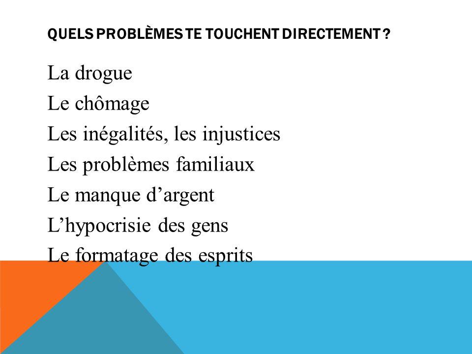 QUELS PROBLÈMES TE TOUCHENT DIRECTEMENT .