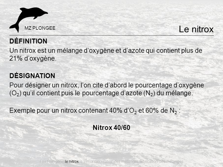 DÉFINITION Un nitrox est un mélange d'oxygène et d'azote qui contient plus de 21% d'oxygène. DÉSIGNATION Pour désigner un nitrox, l'on cite d'abord le
