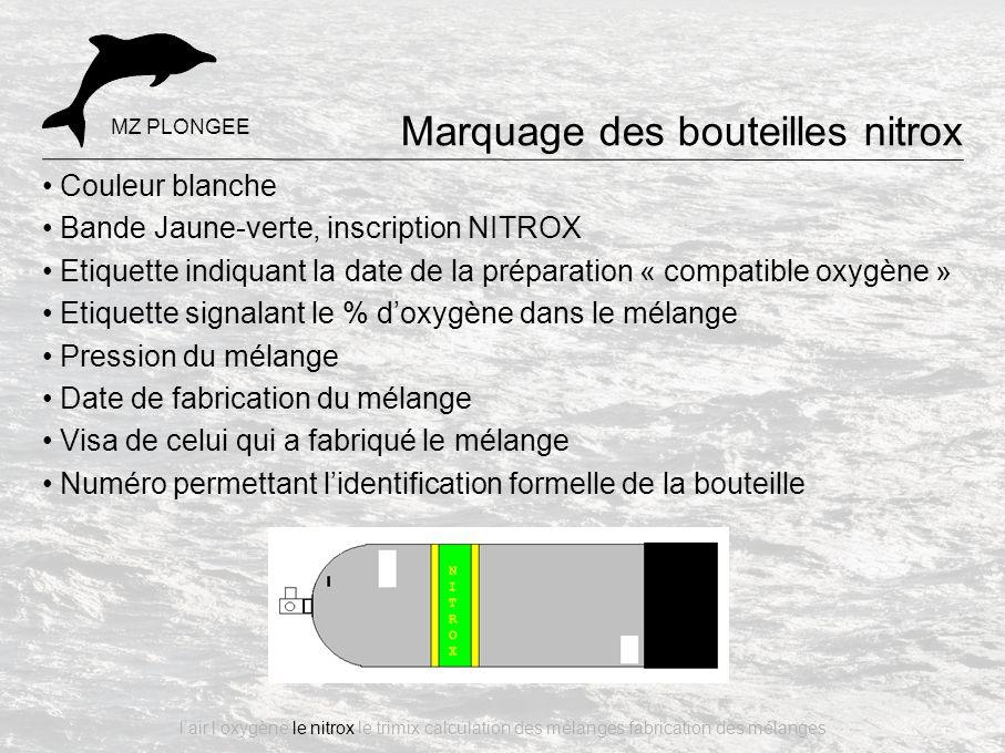 Couleur blanche Bande Jaune-verte, inscription NITROX Etiquette indiquant la date de la préparation « compatible oxygène » Etiquette signalant le % d'