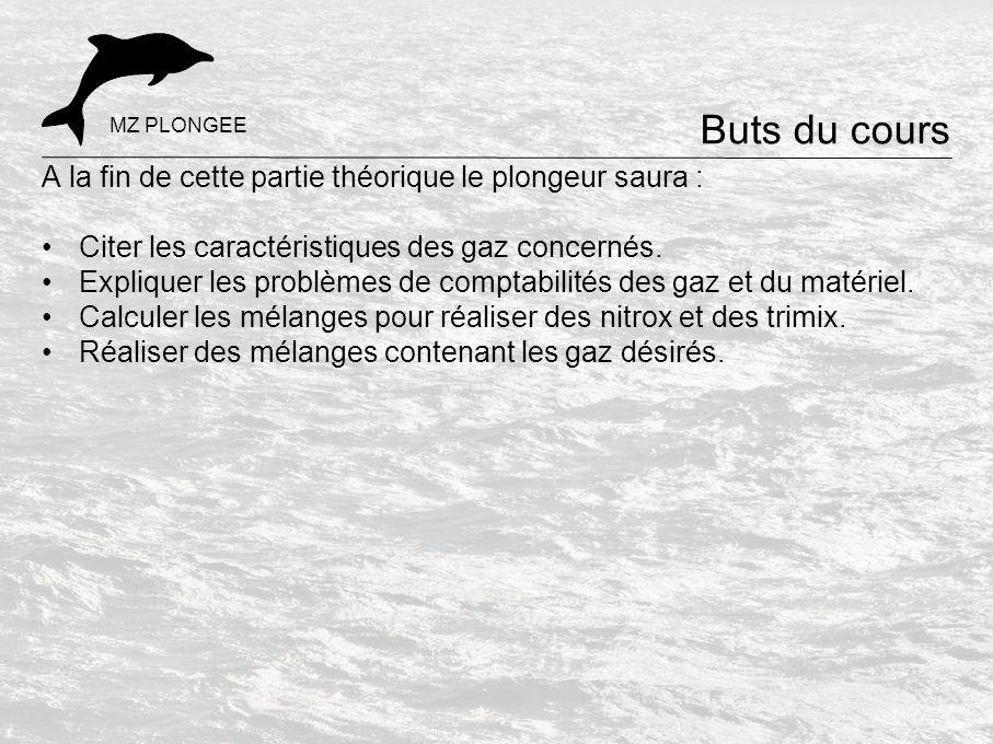 A la fin de cette partie théorique le plongeur saura : Citer les caractéristiques des gaz concernés. Expliquer les problèmes de comptabilités des gaz
