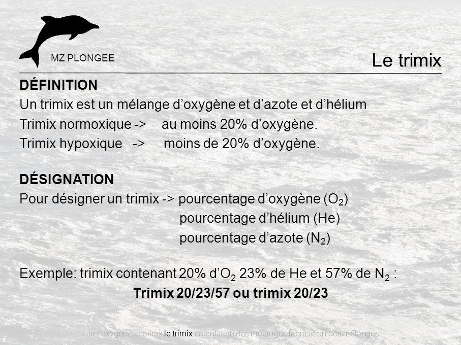 DÉFINITION Un trimix est un mélange d'oxygène et d'azote et d'hélium Trimix normoxique -> au moins 20% d'oxygène. Trimix hypoxique -> moins de 20% d'o