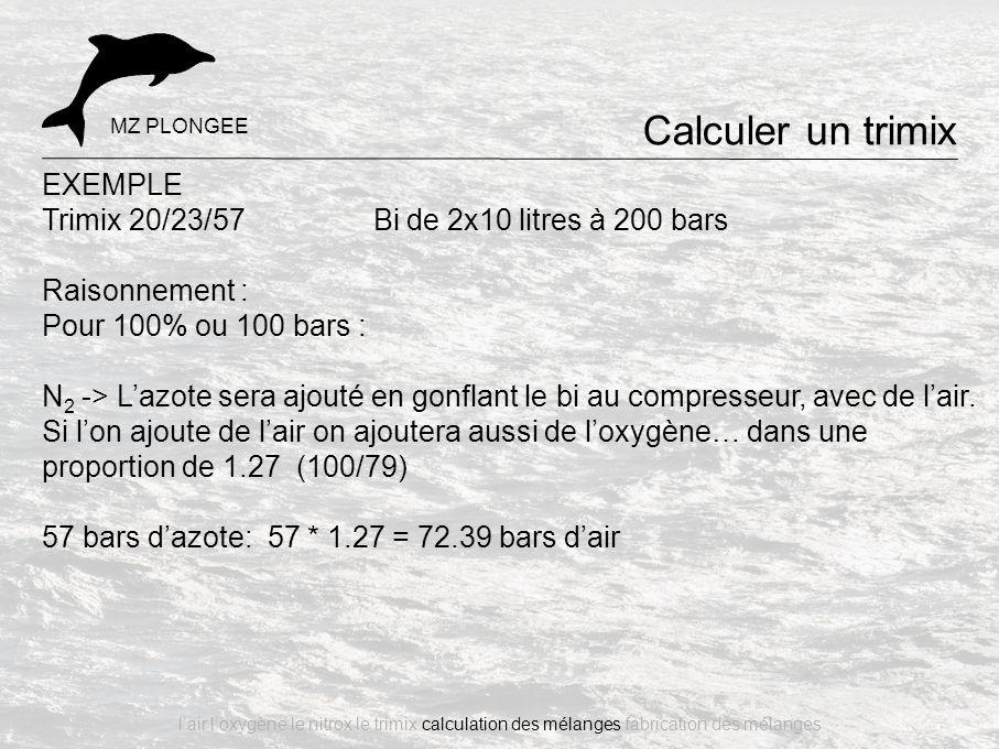 EXEMPLE Trimix 20/23/57 Bi de 2x10 litres à 200 bars Raisonnement : Pour 100% ou 100 bars : N 2 -> L'azote sera ajouté en gonflant le bi au compresseu