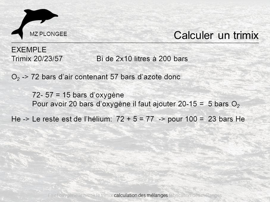 EXEMPLE Trimix 20/23/57 Bi de 2x10 litres à 200 bars O 2 -> 72 bars d'air contenant 57 bars d'azote donc 72- 57 = 15 bars d'oxygène Pour avoir 20 bars