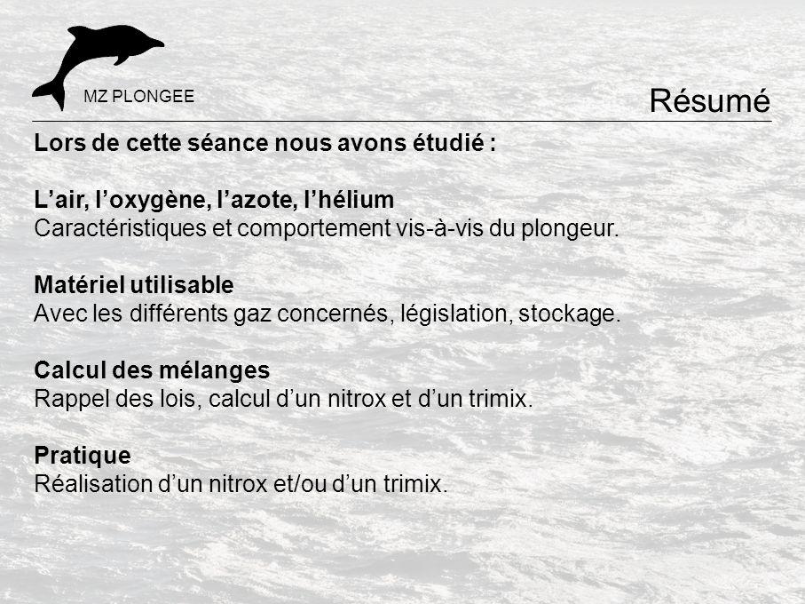 Lors de cette séance nous avons étudié : L'air, l'oxygène, l'azote, l'hélium Caractéristiques et comportement vis-à-vis du plongeur. Matériel utilisab