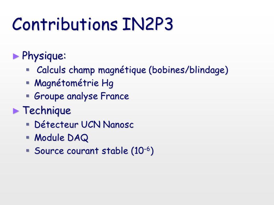 Contributions IN2P3 ► Physique:  Calculs champ magnétique (bobines/blindage)  Magnétométrie Hg  Groupe analyse France ► Technique  Détecteur UCN N