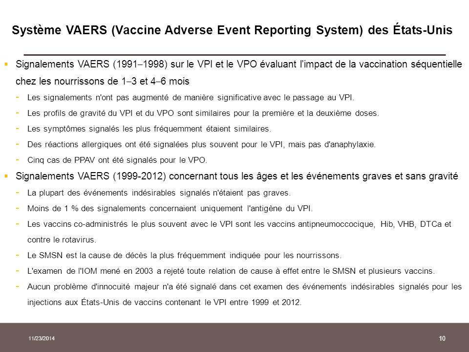 10 Système VAERS (Vaccine Adverse Event Reporting System) des États-Unis  Signalements VAERS (1991 – 1998) sur le VPI et le VPO évaluant l'impact de