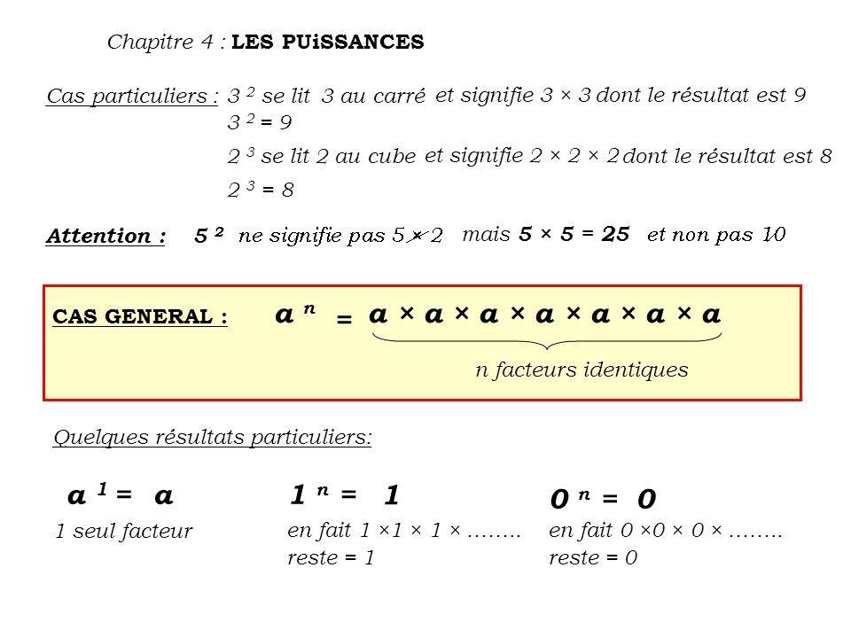 Chapitre 4 : LES PUiSSANCES Cas particuliers :3 2 se lit 3 au carré et signifie 3 × 3dont le résultat est 9 2 3 se lit 2 au cube et signifie 2 × 2 × 2 dont le résultat est 8 3 2 = 9 2 3 = 8 Attention :5 2 mais 5 × 5 = 25 CAS GENERAL : a n = a × a × a × a × a × a × a n facteurs identiques Quelques résultats particuliers: a 1 =a 1 seul facteur 1 n = en fait 1 ×1 × 1 × ……..