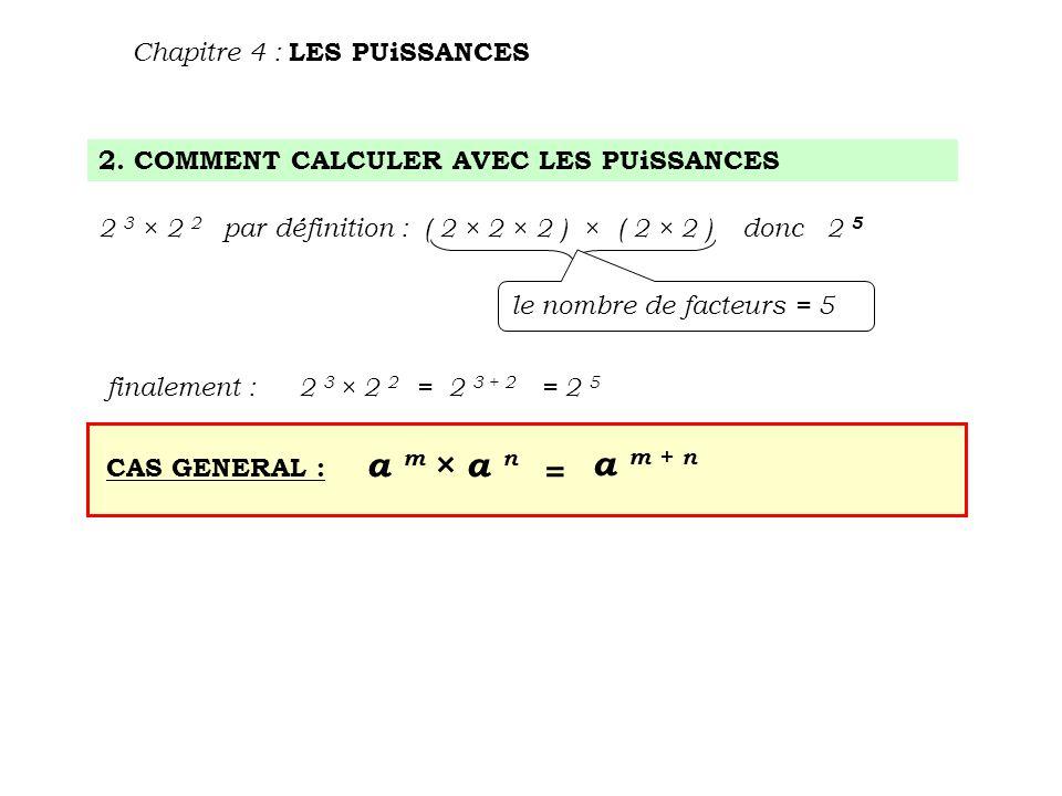 2. COMMENT CALCULER AVEC LES PUiSSANCES Chapitre 4 : LES PUiSSANCES 2 3 × 2 2 par définition : ( 2 × 2 × 2 ) × ( 2 × 2 ) donc 2 5 le nombre de facteur