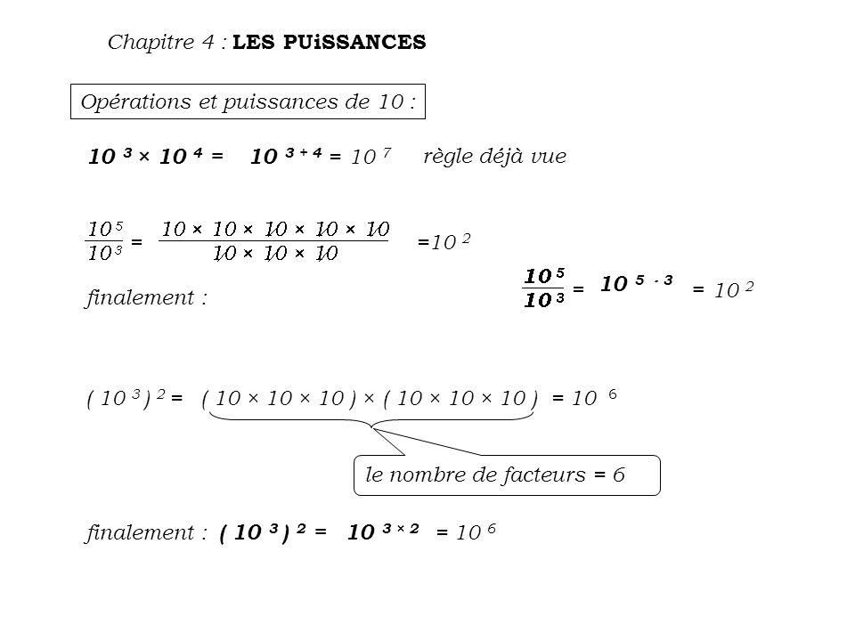 Opérations et puissances de 10 : Chapitre 4 : LES PUiSSANCES 10 3 × 10 4 = 10 3 + 4 =10 7 règle déjà vue =10 2 finalement : 10 5 - 3 = 10 2 ( 10 3 ) 2 =( 10 × 10 × 10 ) × ( 10 × 10 × 10 )= 10 6 le nombre de facteurs = 6 finalement : ( 10 3 ) 2 =10 3 × 2 = 10 6