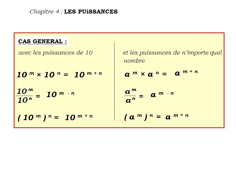 Chapitre 4 : LES PUiSSANCES CAS GENERAL : avec les puissances de 10et les puissances de n'importe quel nombre 10 m × 10 n = ( 10 m ) n = a m × a n = ( a m ) n = 10 m + n a m + n 10 m - n a m - n 10 m × n a m × n