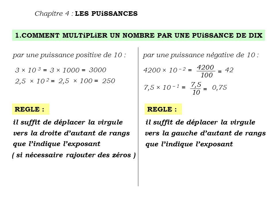 1.COMMENT MULTiPLiER UN NOMBRE PAR UNE PUiSSANCE DE DIX Chapitre 4 : LES PUiSSANCES par une puissance positive de 10 :par une puissance négative de 10 : 3 × 10 3 = 3 × 1000 = 3000 2,5 × 10 2 = 2,5 × 100 =250 REGLE : il suffit de déplacer la virgule vers la droite d'autant de rangs que l'indique l'exposant ( si nécessaire rajouter des zéros ) il suffit de déplacer la virgule vers la gauche d'autant de rangs que l'indique l'exposant 4200 × 10 – 2 = 42 7,5 × 10 – 1 = 0,75