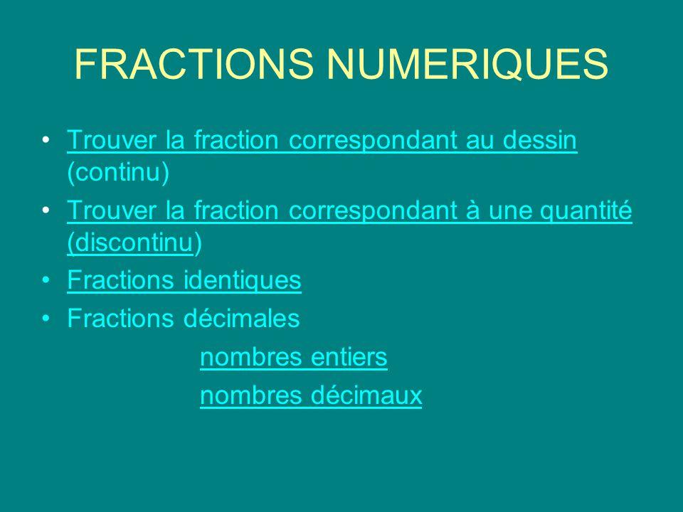 FRACTIONS NUMERIQUES Trouver la fraction correspondant au dessin (continu)Trouver la fraction correspondant au dessin Trouver la fraction correspondant à une quantité (discontinu)Trouver la fraction correspondant à une quantité (discontinu Fractions identiques Fractions décimales nombres entiers nombres décimaux