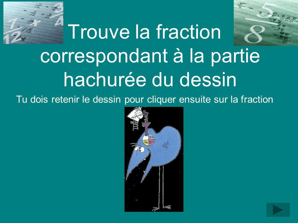 FRACTIONS NUMERIQUES Trouver la fraction correspondant au dessin (continu)Trouver la fraction correspondant au dessin Trouver la fraction correspondan