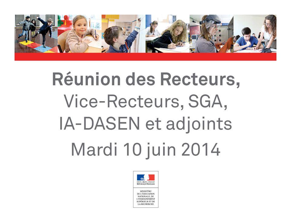 > Nouveaux rythmes scolaires dans le 1 er degré à la rentrée 2014 réunion des recteurs – 10 juin 2014