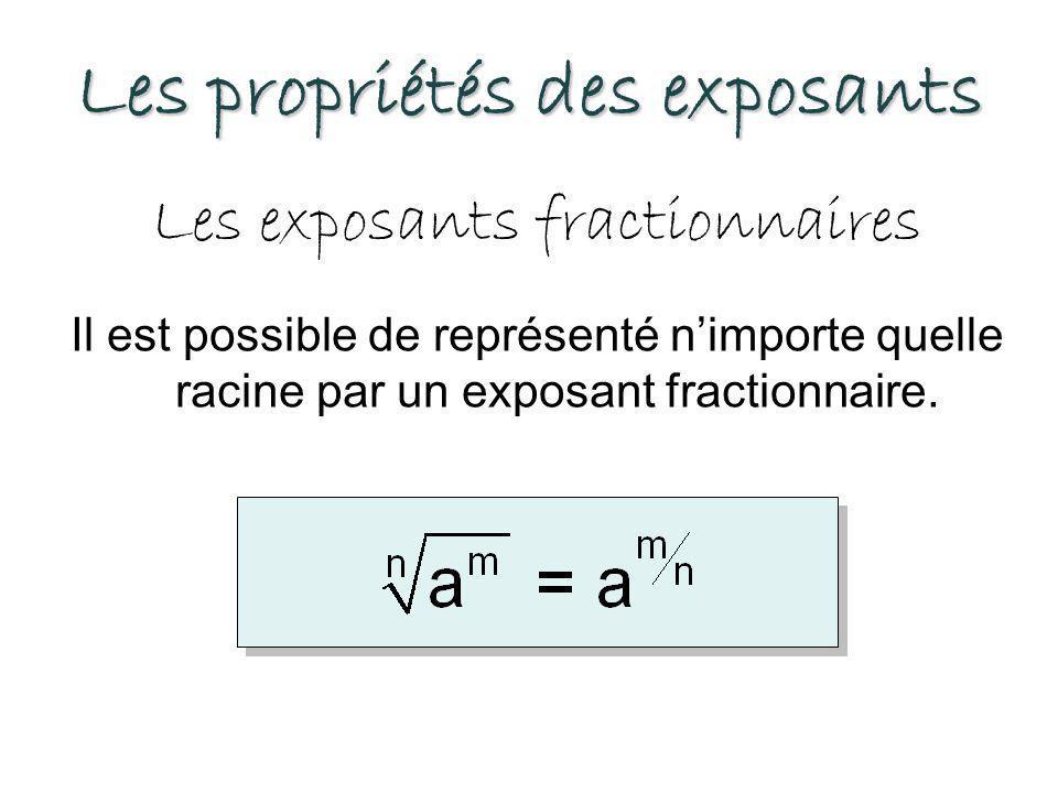 Les propriétés des exposants Les exposants fractionnaires Il est possible de représenté n'importe quelle racine par un exposant fractionnaire.