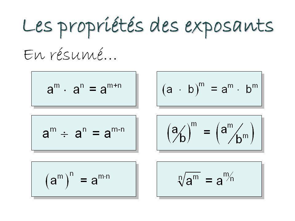 Les propriétés des exposants En résumé…