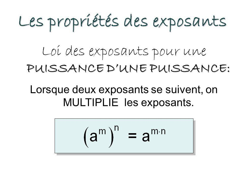 Les propriétés des exposants PUISSANCE D'UN PRODUIT: Loi des exposants pour une PUISSANCE D'UN PRODUIT: Lorsqu'on a une multiplication de différentes bases affectée d'un exposant, on ATTRIBUE l'exposant à chacune des bases.