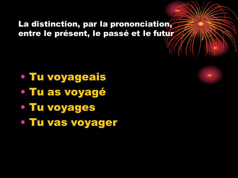 La distinction, par la prononciation, entre le présent, le passé et le futur Tu voyageais Tu as voyagé Tu voyages Tu vas voyager