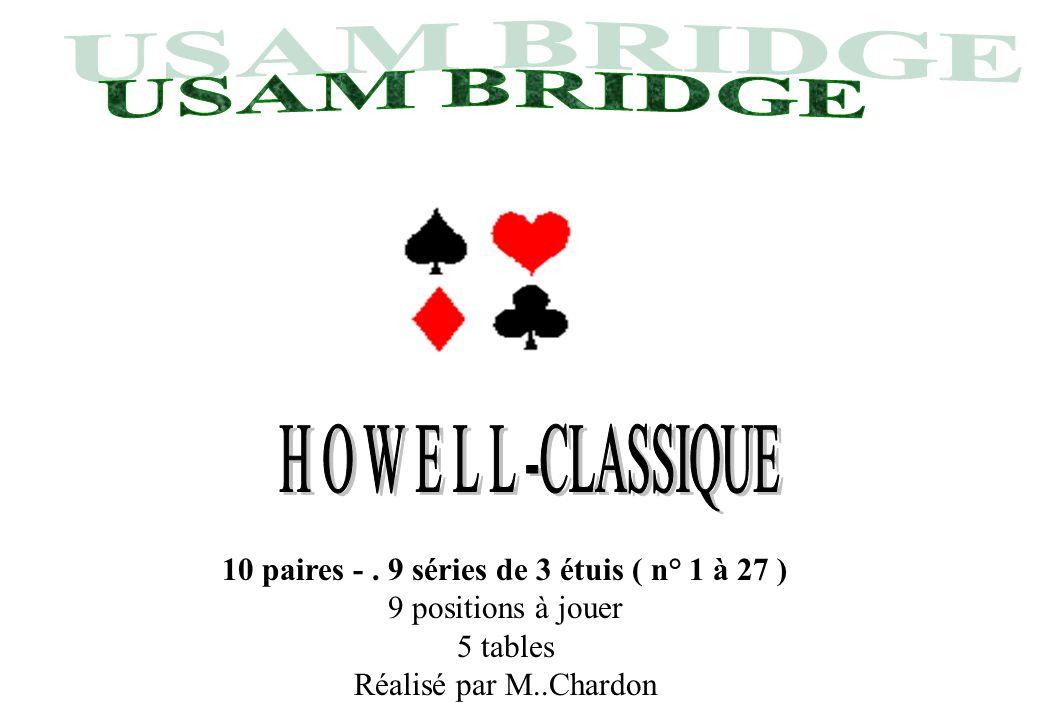 10 paires -. 9 séries de 3 étuis ( n° 1 à 27 ) 9 positions à jouer 5 tables Réalisé par M..Chardon