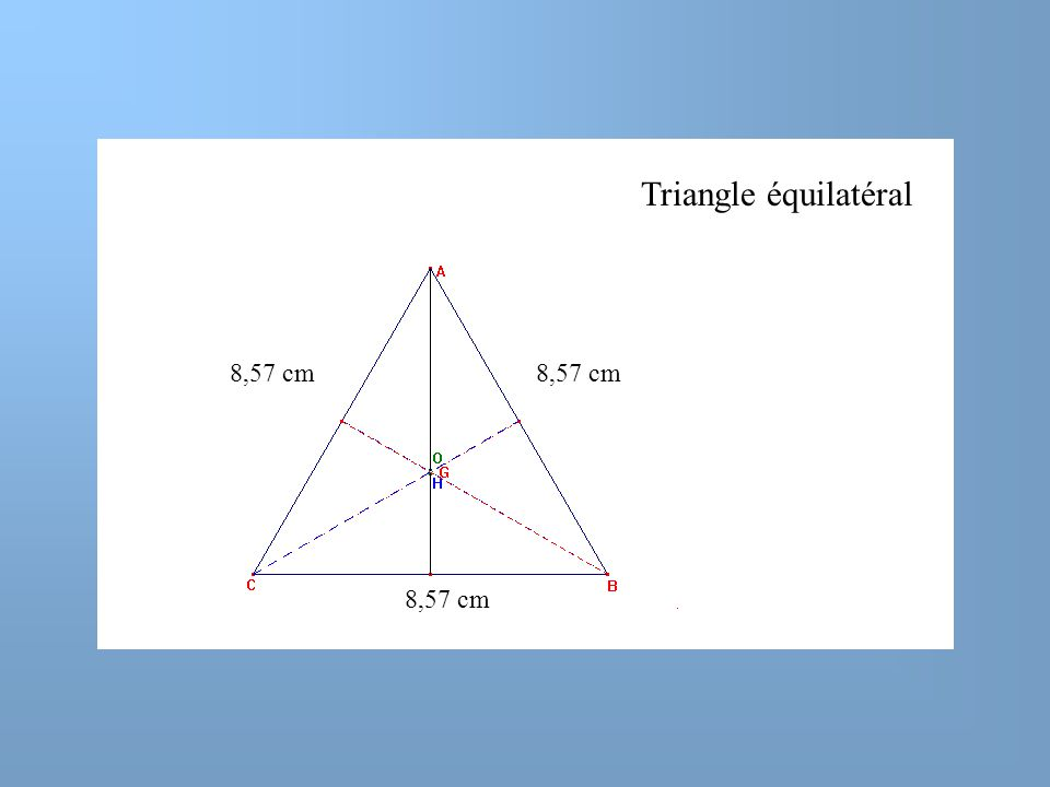 Triangle équilatéral 8,57 cm