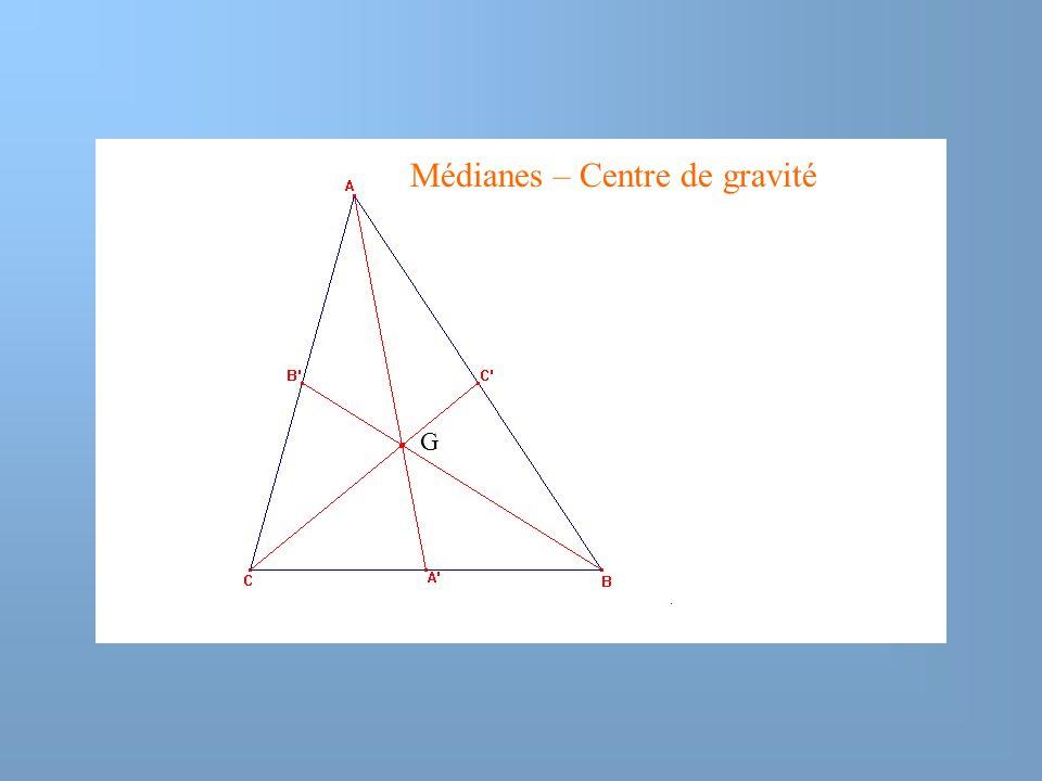Médianes – Centre de gravité G