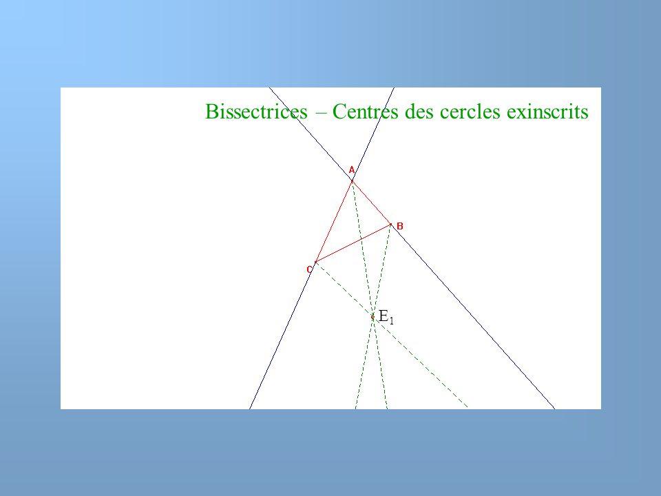 Bissectrices – Centres des cercles exinscrits E1E1