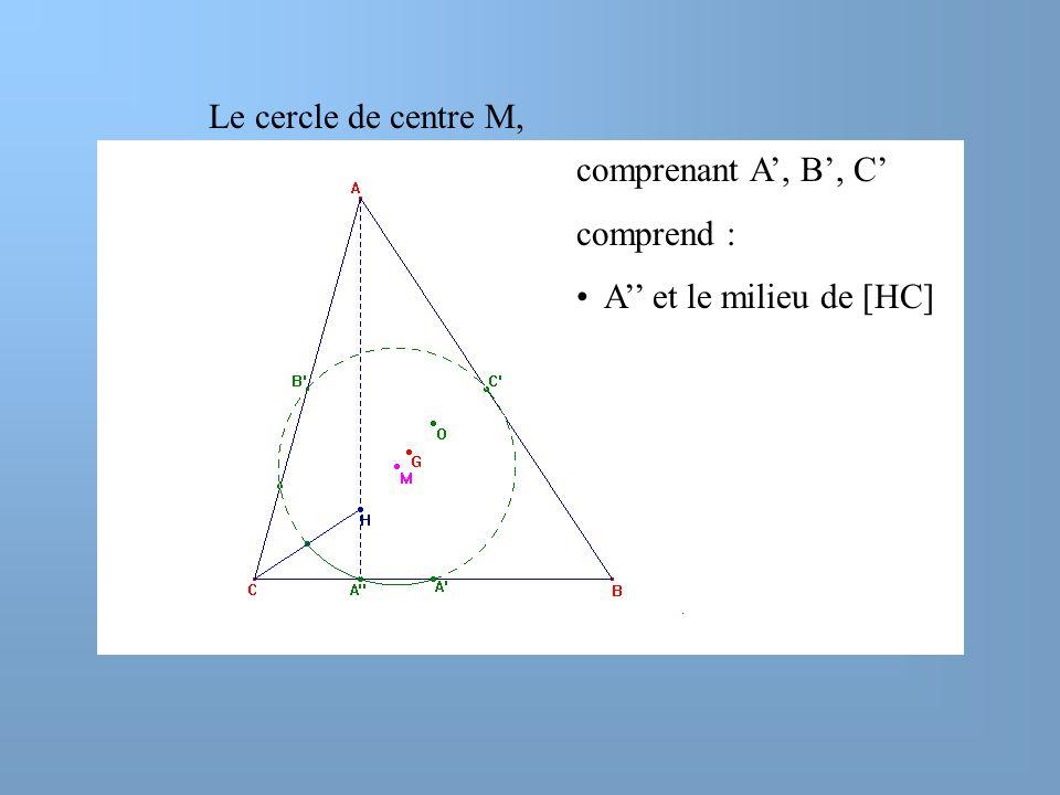 Le cercle de centre M, comprenant A', B', C' comprend : A'' et le milieu de [HC]