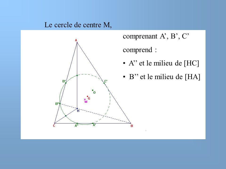 Le cercle de centre M, comprenant A', B', C' comprend : A'' et le milieu de [HC] B'' et le milieu de [HA]