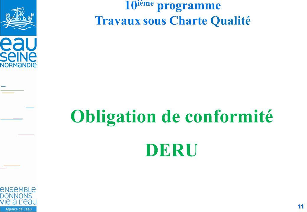 11 10 ième programme Travaux sous Charte Qualité Obligation de conformité DERU