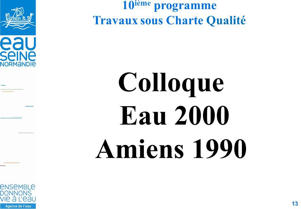 13 Colloque Eau 2000 Amiens 1990 10 ième programme Travaux sous Charte Qualité