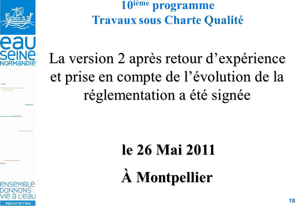 18 La version 2 après retour d'expérience et prise en compte de l'évolution de la réglementation a été signée le 26 Mai 2011 le 26 Mai 2011 À Montpellier 10 ième programme Travaux sous Charte Qualité