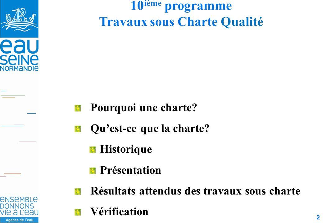 2 10 ième programme Travaux sous Charte Qualité Pourquoi une charte.