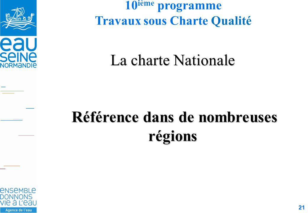 21 La charte Nationale Référence dans de nombreuses régions Référence dans de nombreuses régions 10 ième programme Travaux sous Charte Qualité