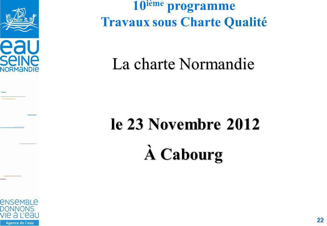 22 La charte Normandie le 23 Novembre 2012 le 23 Novembre 2012 À Cabourg 10 ième programme Travaux sous Charte Qualité