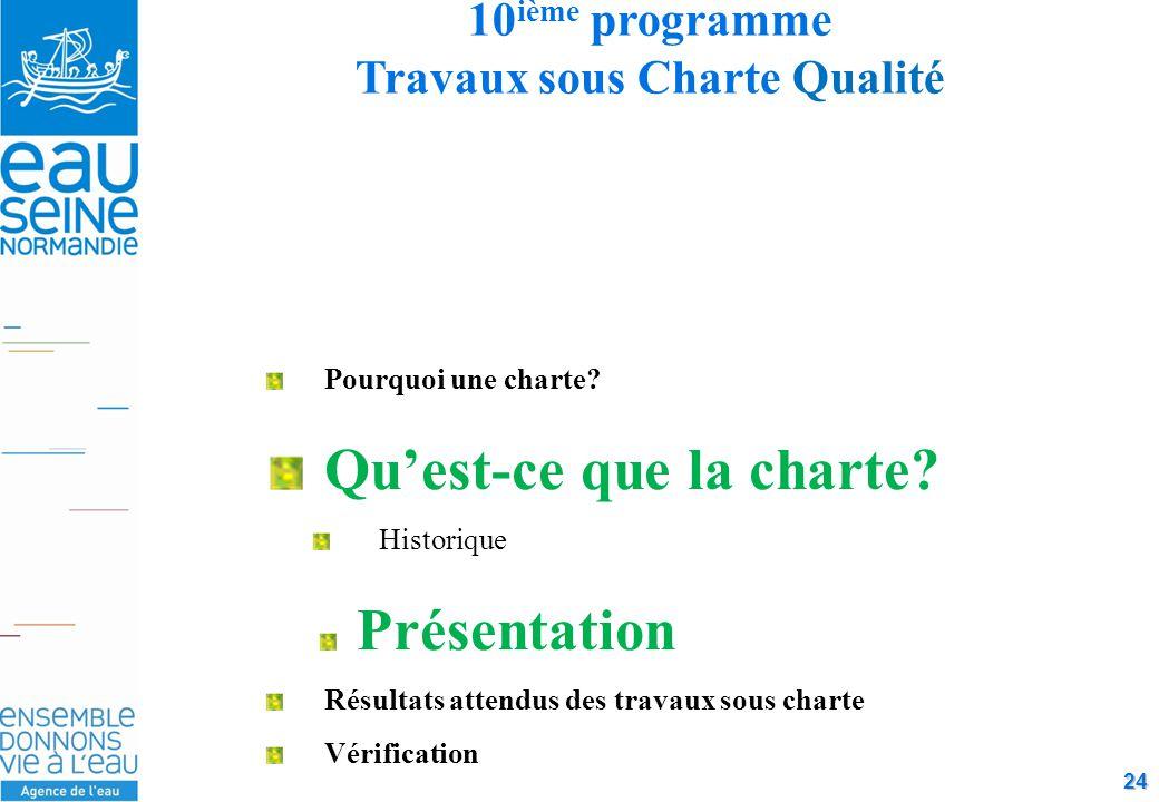 24 10 ième programme Travaux sous Charte Qualité Pourquoi une charte.