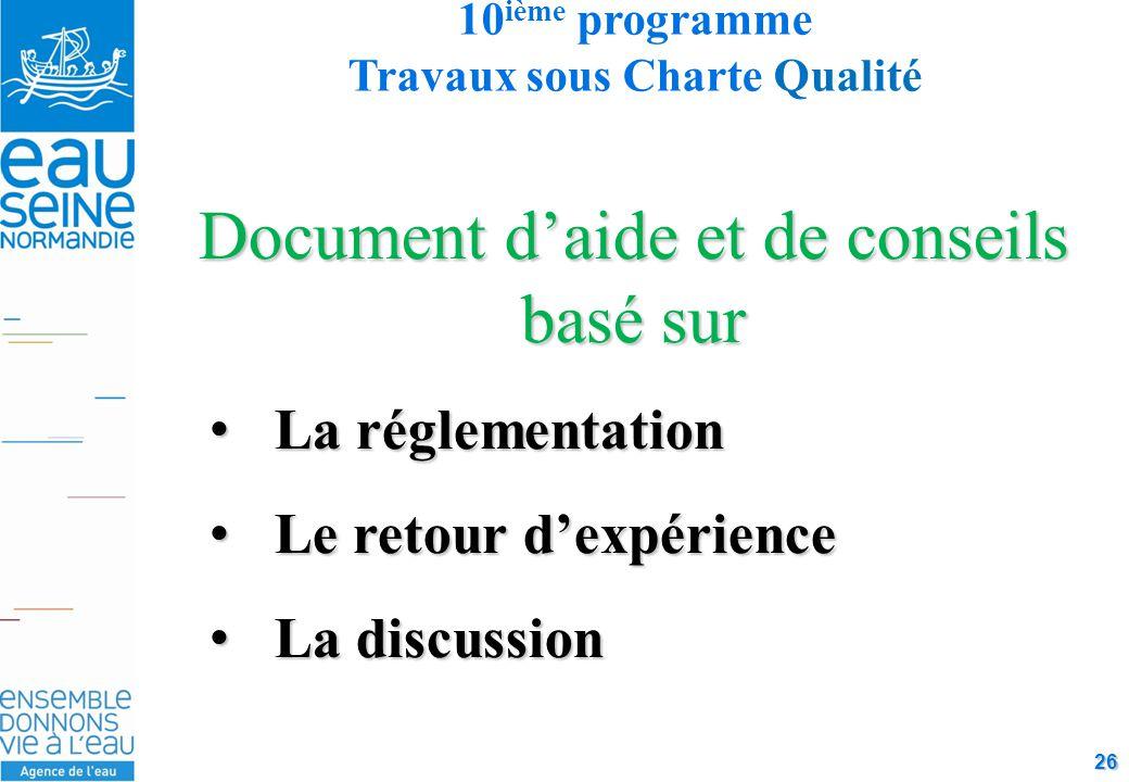 26 Document d'aide et de conseils basé sur La réglementationLa réglementation Le retour d'expérienceLe retour d'expérience La discussionLa discussion 10 ième programme Travaux sous Charte Qualité