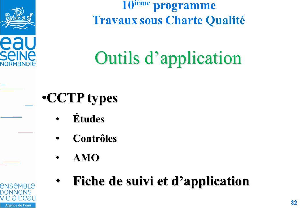 32 Outils d'application CCTP typesCCTP types ÉtudesÉtudes ContrôlesContrôles AMOAMO Fiche de suivi et d'applicationFiche de suivi et d'application 10 ième programme Travaux sous Charte Qualité
