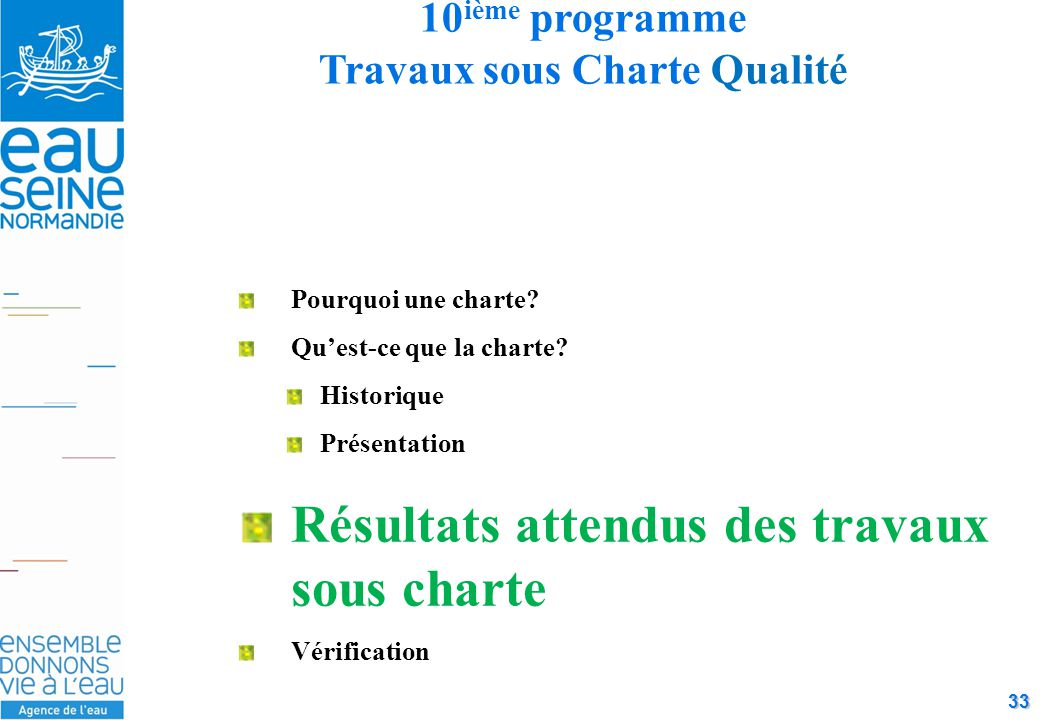 33 10 ième programme Travaux sous Charte Qualité Pourquoi une charte.