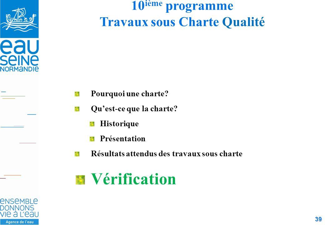 39 10 ième programme Travaux sous Charte Qualité Pourquoi une charte.