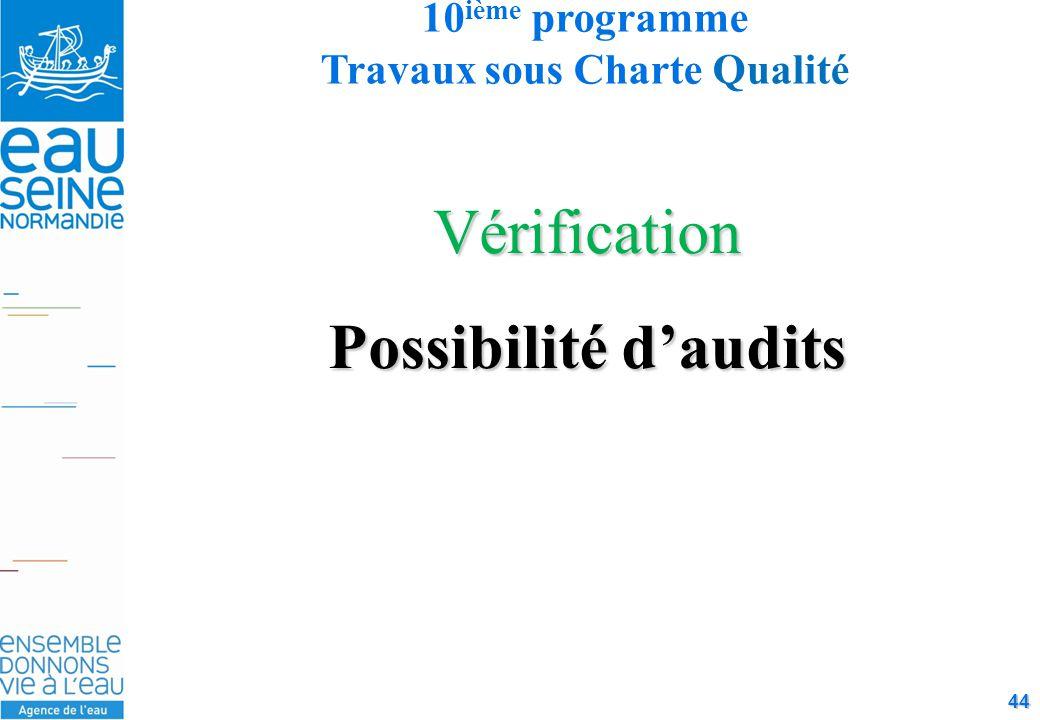 44 Vérification Possibilité d'audits 10 ième programme Travaux sous Charte Qualité