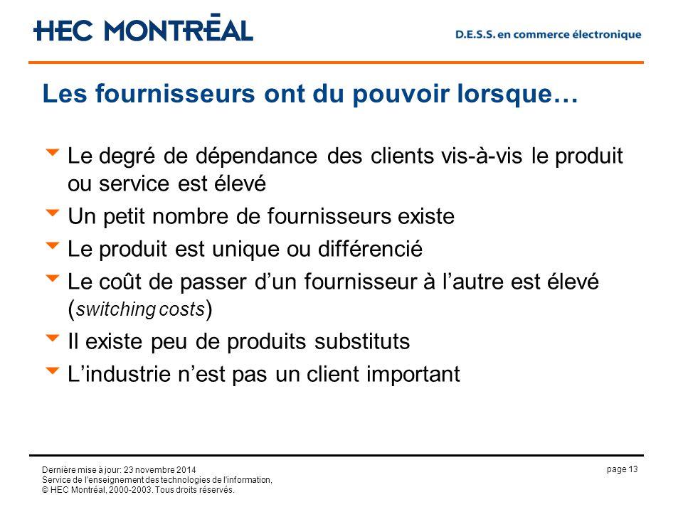 page 13 Dernière mise à jour: 23 novembre 2014 Service de l enseignement des technologies de l information, © HEC Montréal, 2000-2003.