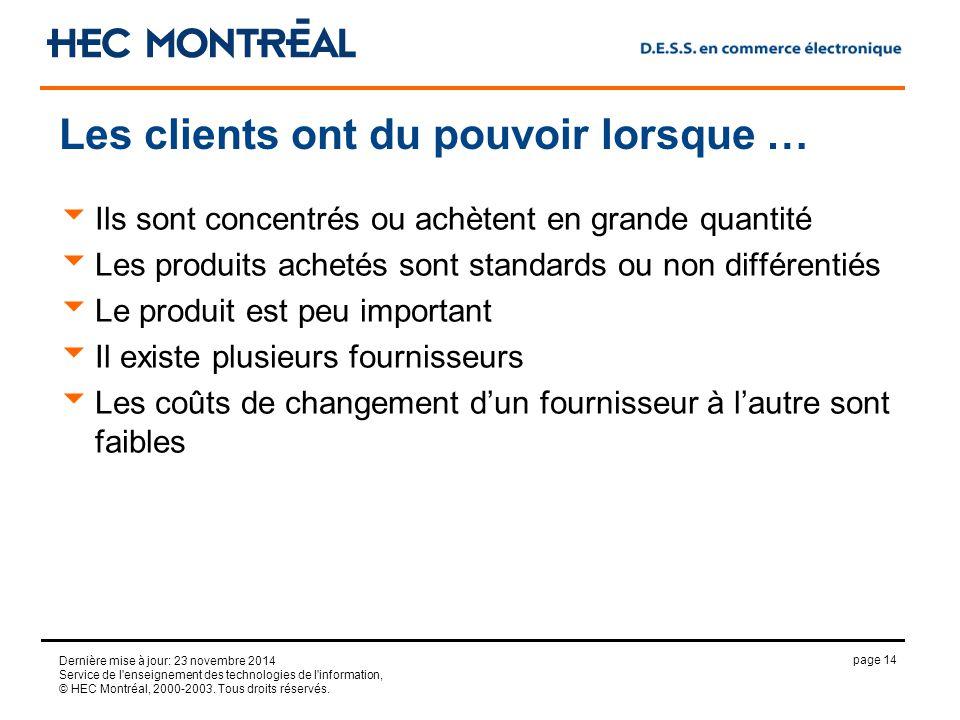 page 14 Dernière mise à jour: 23 novembre 2014 Service de l enseignement des technologies de l information, © HEC Montréal, 2000-2003.