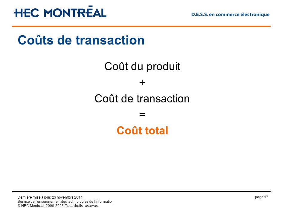 page 17 Dernière mise à jour: 23 novembre 2014 Service de l enseignement des technologies de l information, © HEC Montréal, 2000-2003.