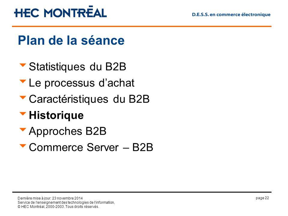 page 22 Dernière mise à jour: 23 novembre 2014 Service de l enseignement des technologies de l information, © HEC Montréal, 2000-2003.