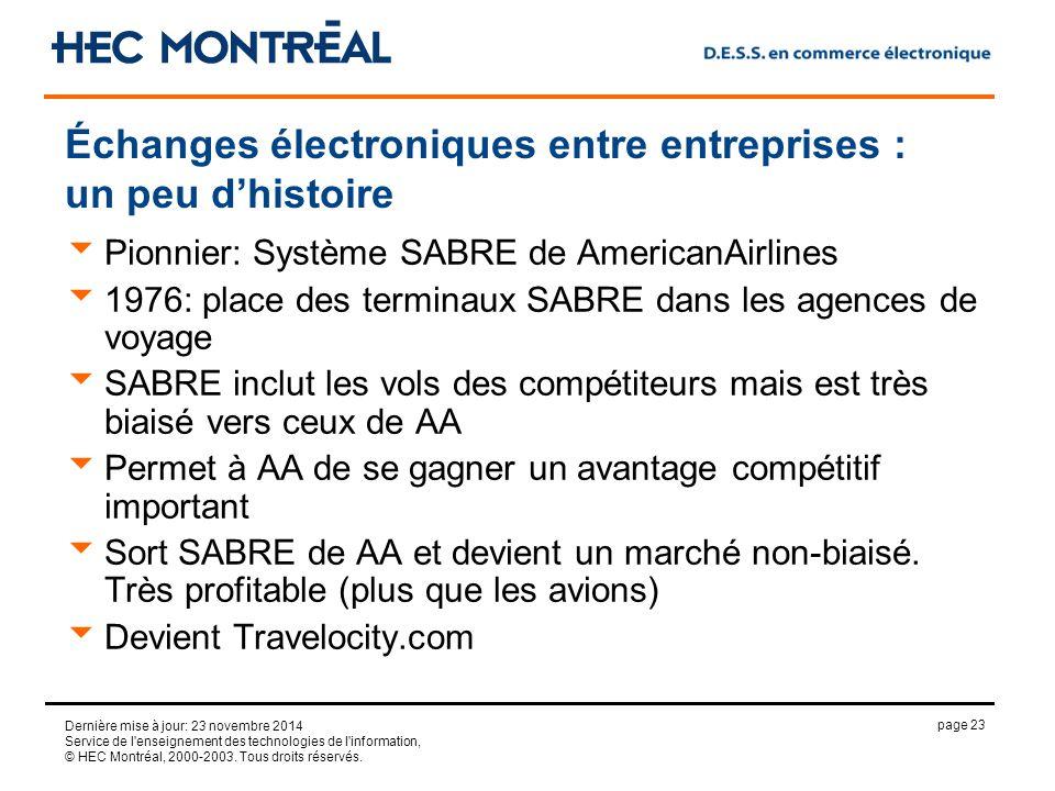 page 23 Dernière mise à jour: 23 novembre 2014 Service de l enseignement des technologies de l information, © HEC Montréal, 2000-2003.