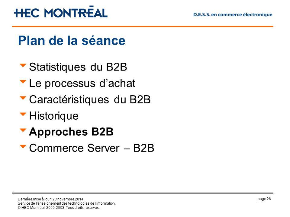 page 26 Dernière mise à jour: 23 novembre 2014 Service de l enseignement des technologies de l information, © HEC Montréal, 2000-2003.