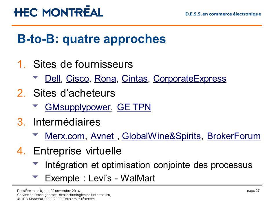 page 27 Dernière mise à jour: 23 novembre 2014 Service de l enseignement des technologies de l information, © HEC Montréal, 2000-2003.