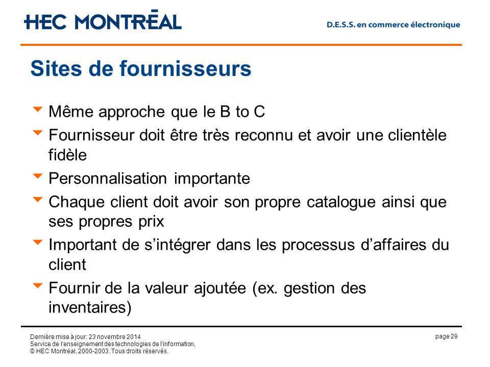 page 29 Dernière mise à jour: 23 novembre 2014 Service de l enseignement des technologies de l information, © HEC Montréal, 2000-2003.