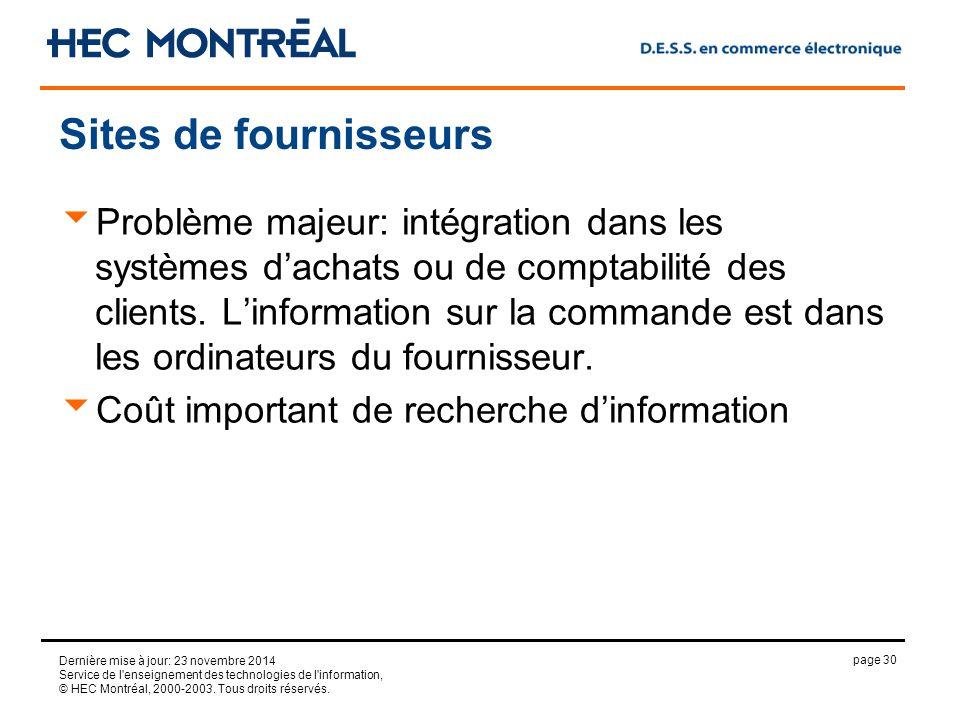 page 30 Dernière mise à jour: 23 novembre 2014 Service de l enseignement des technologies de l information, © HEC Montréal, 2000-2003.