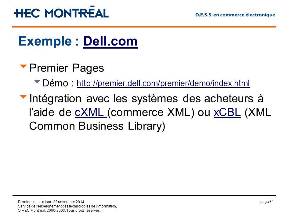 page 31 Dernière mise à jour: 23 novembre 2014 Service de l enseignement des technologies de l information, © HEC Montréal, 2000-2003.